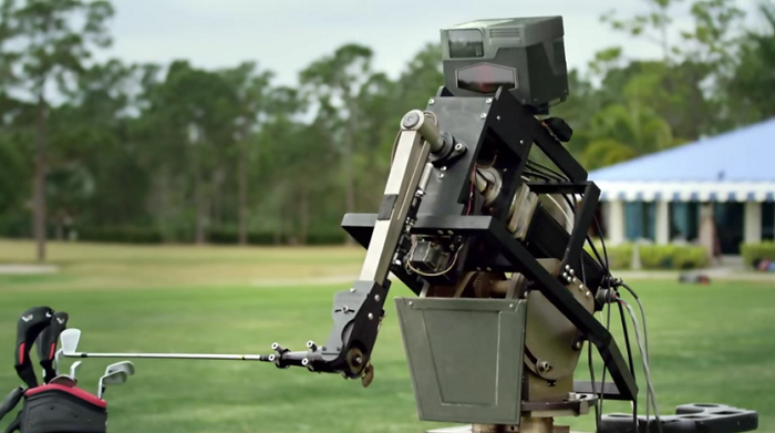 Golf Ball Hitting Robot on golf playground - side view